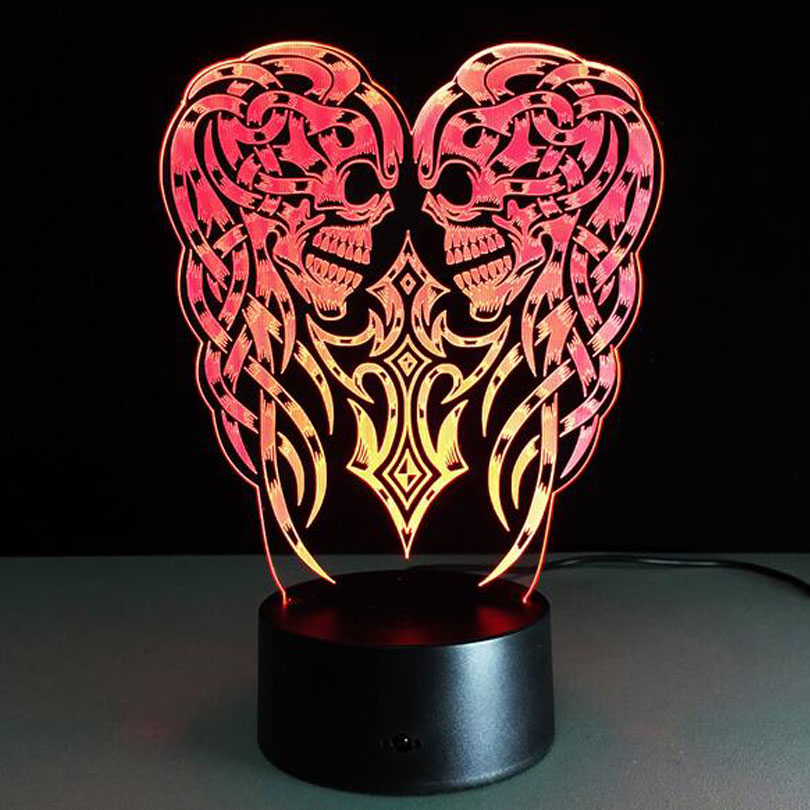 3D USB skull LED Table Night Light Multicolored Optical Illusion Desk Lighting Touch Lamp For Halloween with battery box