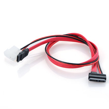 7+6 Pin Slimline SATA Cable for Slim Latop SATA DVD CD-RW Drive Power Cable PC Splitter Hard Cord Optical Drive Cable Red