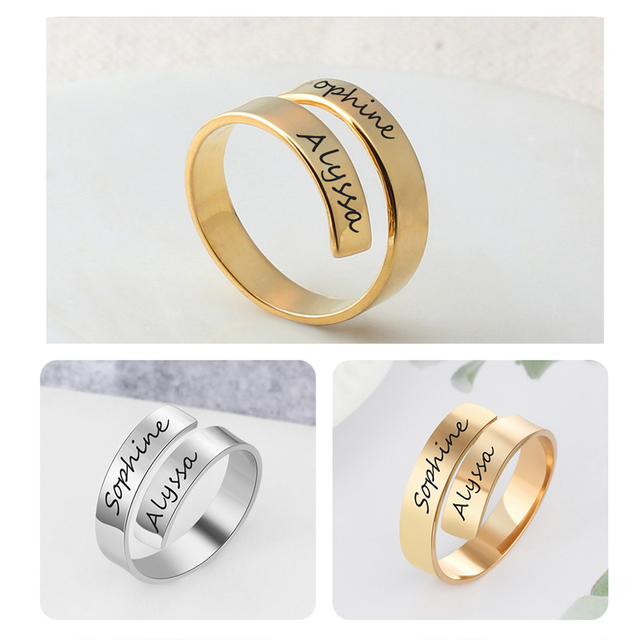 Personalized Stainless Steel Adjustable Ring 6