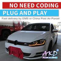 AKD tuning cars faro para VW Golk7 Golf 7 MK7 faros LED DRL luces de carrera bi-xenon haz de niebla luces Ángel ojos Auto