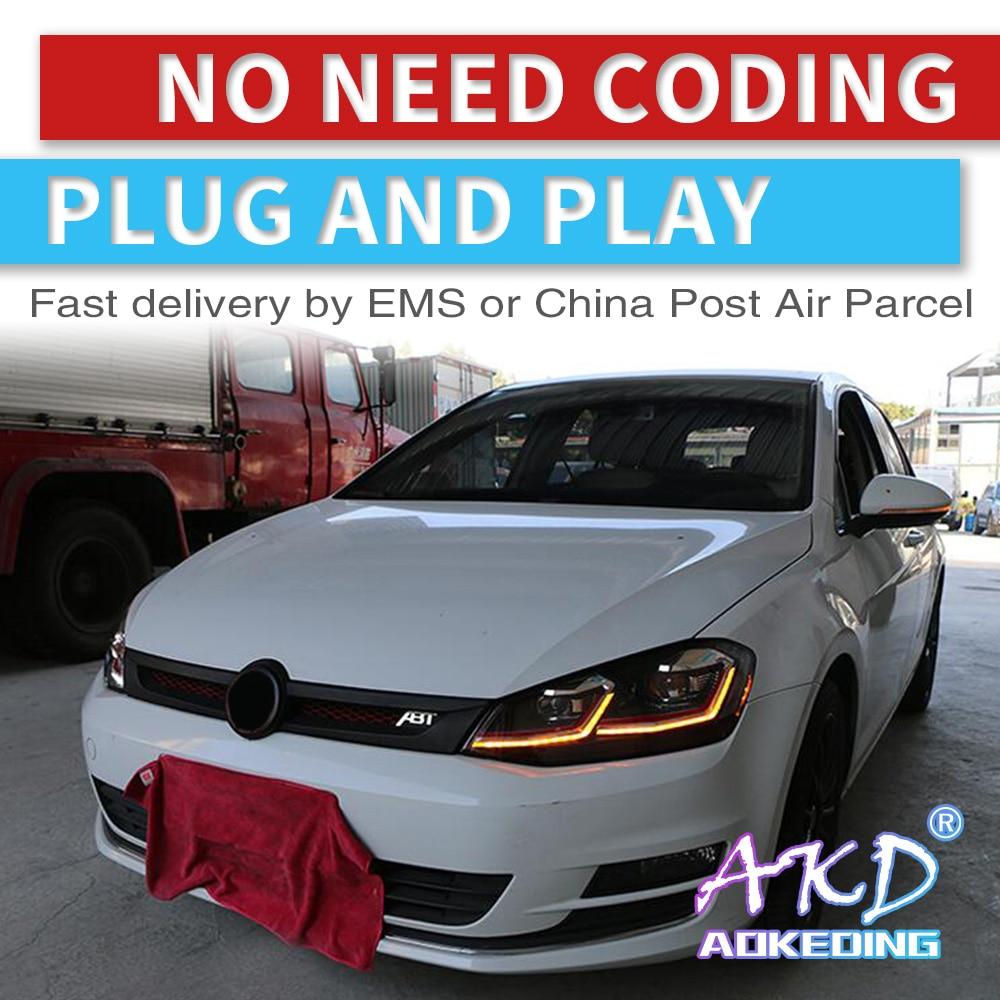 Carros tuning Farol Para VW Golf 7 Golk7 AKD MK7 Faróis LED DRL Execução luzes Bi-Xenon Feixe de Nevoeiro luzes angel eyes Auto