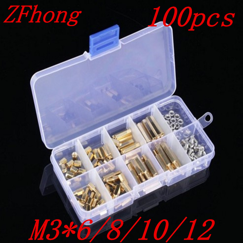 100PCS M3 Male Female Brass Standoff Spacer Hex Screws Nut Assortment PCB Board Repair Tool Set Kit thgs 120pcs m3 male female brass standoff spacer pcb board hex screws nut assortment