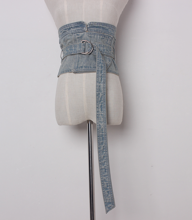 Women's Runway Fashion Denim Cummerbunds Female Dress Corsets Waistband Belts Decoration Wide Belt R1372