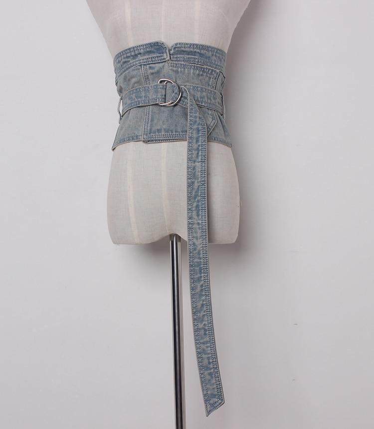 Women's Runway Fashion Denim Cummerbunds Female Dress Corsets Waistband Belts Decoration Wide Belt R1372