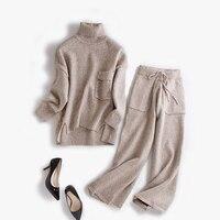 Новые модные кашемировая шерсть Смеси женские вязаные свитер с высоким воротом костюмы пуловер широкие брюки 2 шт./компл. один и более разме