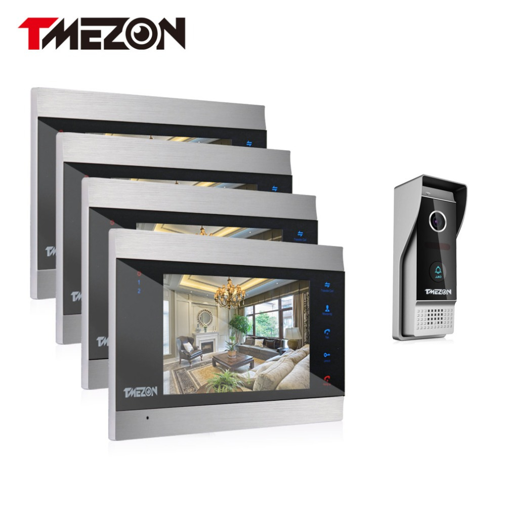 Tmezon Video Door Phone System 4pcs 7 Color Monitor One 1200TVL Outdoor Doorbell Camera Waterproof Auto-IR Night Vision 4V1 Set tmezon 4 inch tft color monitor 1200tvl camera video door phone intercom security speaker system waterproof ir night vision 1v1