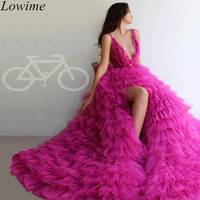 New Fashion Fuchsia Long Evening Dresses 2019 Arabic High Side Split Couture Sexy Prom Party Dress With Sashes Pregnant Vestidos
