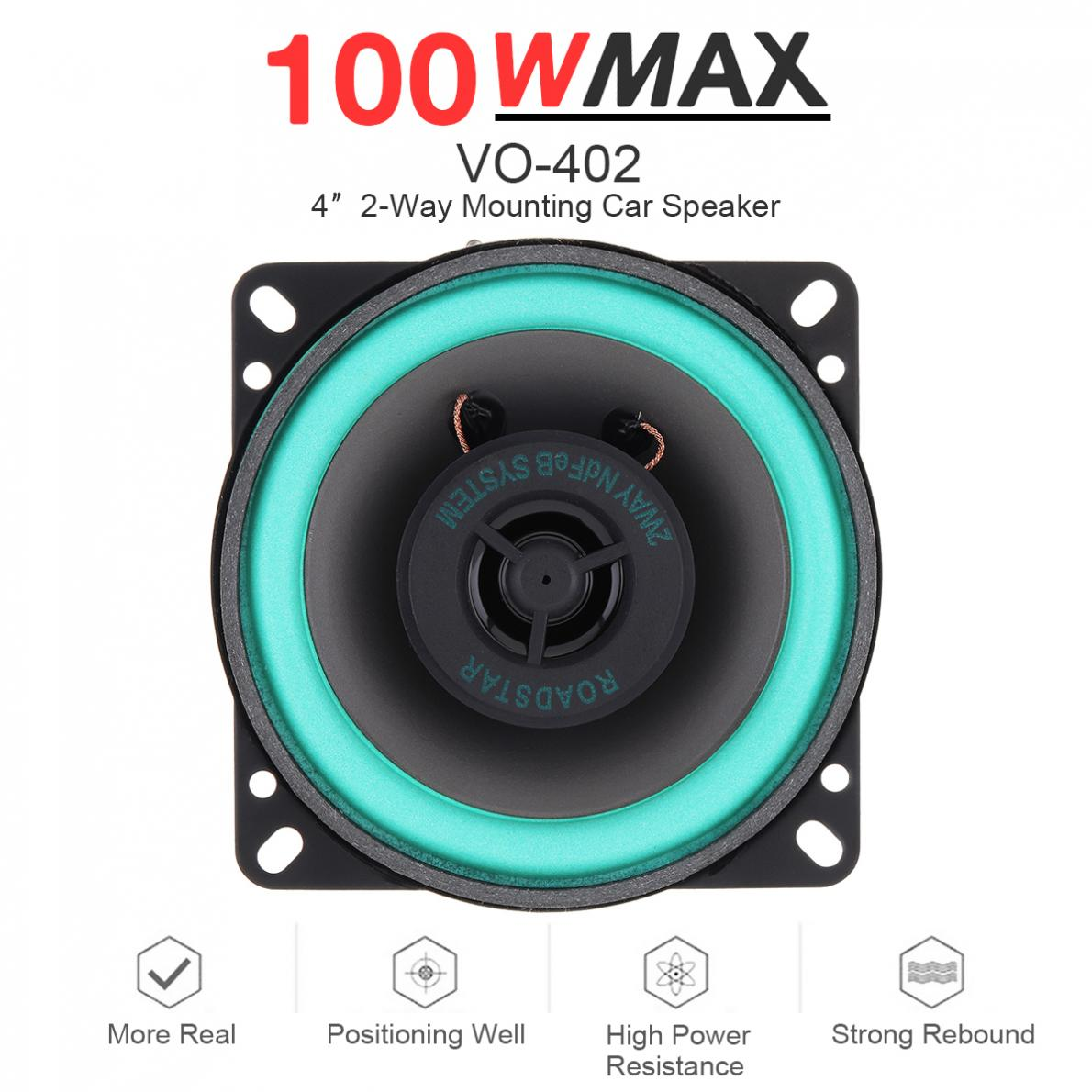 1pcs 4 Inch 100W 12V Universal Car HiFi Coaxial Speaker Vehicle Door Auto Audio Music Stereo Full Range Frequency Speakers