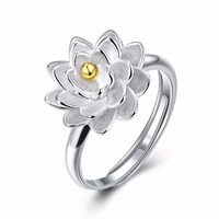 HERMOSA Jewelry New Trendy Style Beautiful Lotus Shape 925 Sterling Silver Gold Plating Charm Open Adjustable
