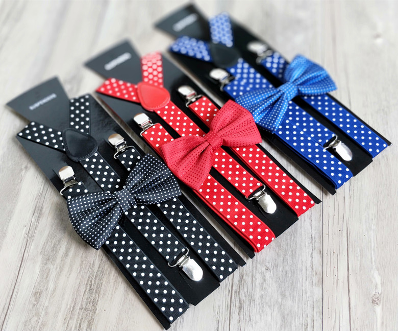 Adult Polka Dot Bow Tie + Idea Strap Set Men And Women 3 Clips Versatile Suspenders Shirt Accessories 10pcs/lot