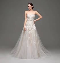 2016 Sweetheart Champagne White Lace Applique Wedding Dress With Color Beading Sash Bridal Gowns In Stock Robe De Mariage