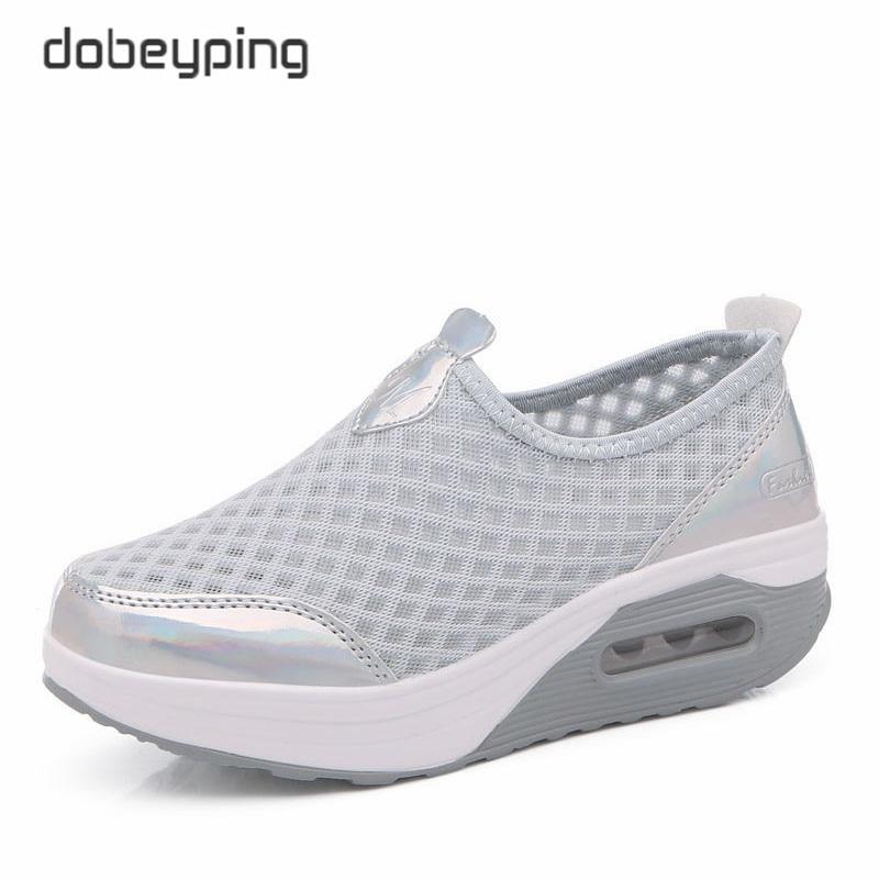 Image 4 - dobeyping Spring Autumn Casual Women Shoes Air Mesh Woman Flats Shoe Flat Platform Ladies Sneakers Slip On Ladies Wedge FootwearWomens Flats   -