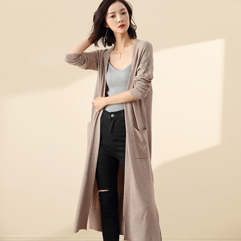 2019 Autumn Winter woman cardigan sweater long sleeve Cashmere sweater kimono cardigan female cardigans Knitted V-Neck Wool Coat Price $39.00