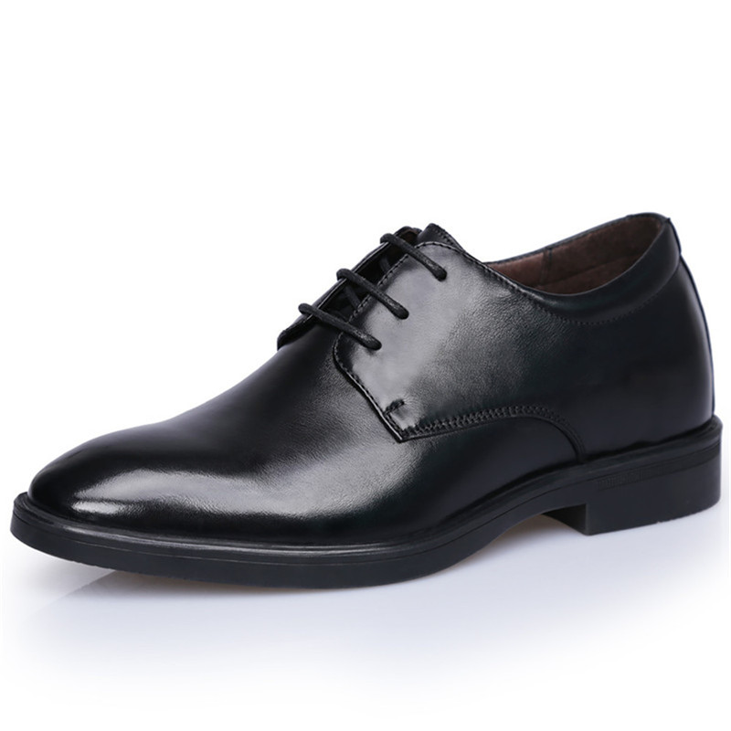 Fashion Black New Mens Dress Wedding Shoes Genuine Leather Height Increased 7 CM High Quality Derby Shoes LeatherFashion Black New Mens Dress Wedding Shoes Genuine Leather Height Increased 7 CM High Quality Derby Shoes Leather