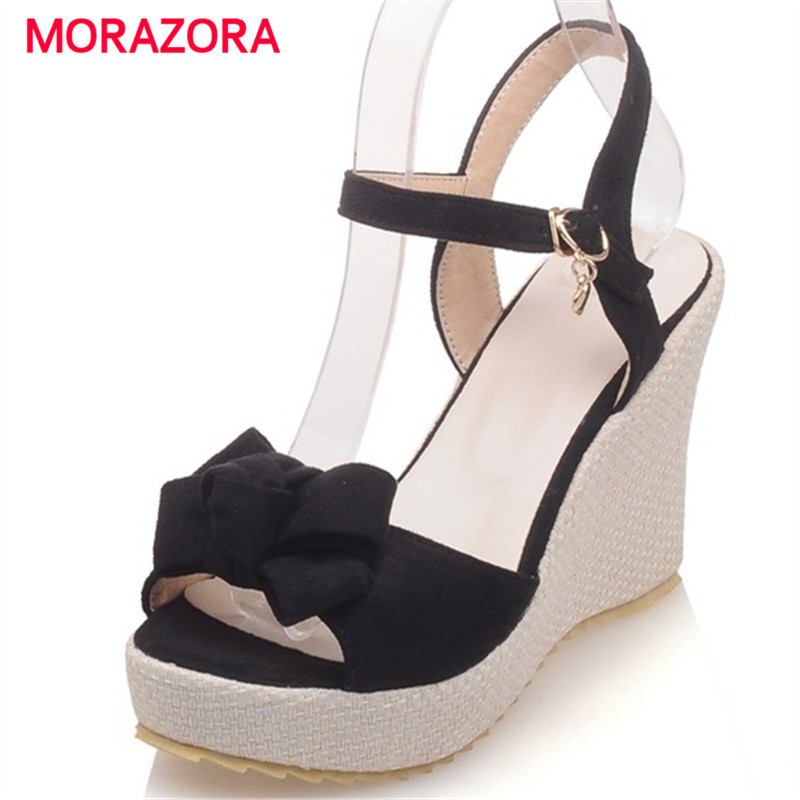 MORAZORA Bohemia style summer shoes sweet buckle platform shoes solid PU nubuck leather wedges shoes sandals women босоножки sweet shoes sweet shoes sw010awtbr38