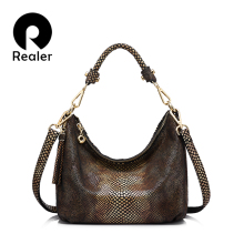REALER brand genuine leather handbag women tassel shoulder bag female small tote bag gold python pattern leather messenger bags
