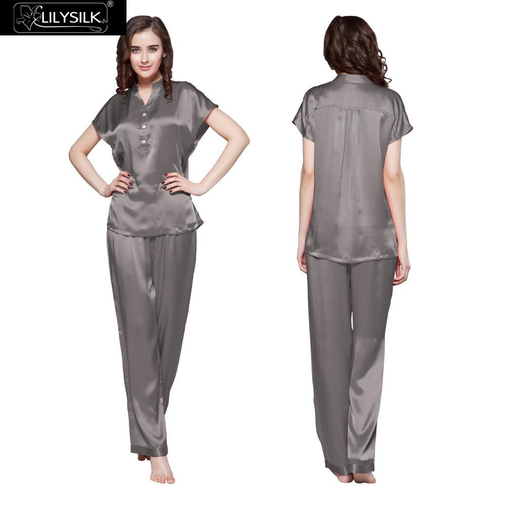 1000-dark-gray-22-momme-half-buttoned-front-silk-pyjamas-set