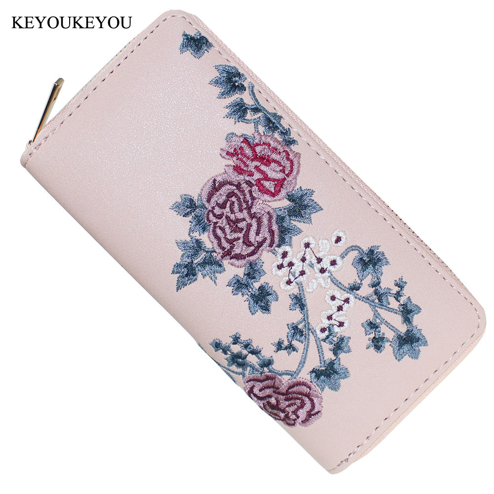 Big Capacity Women Wallet Metal Zipper PU Floral Embroidered Long Organizer Coin Purse ID Card Holder Phone Ladies Clutch Wallet fuzzy metal clutch wallet
