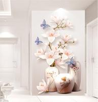 Custom HD Photo 3D Wallpaper Flower Murals Flowers Entrance Hallway 3d Wallpaper Wall Paper Home Decor