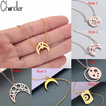 Chandler Boho Crescent Moon Star Neckless Stainless Steel Night Sky Islamic Muslim Pendant Necklace Statement Fashion Jewelry(China)