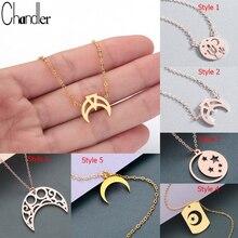 Chandler collar bohemio con colgante de luna y estrella, de acero inoxidable, cielo nocturno, musulmán islámico, joyería de moda con estilo