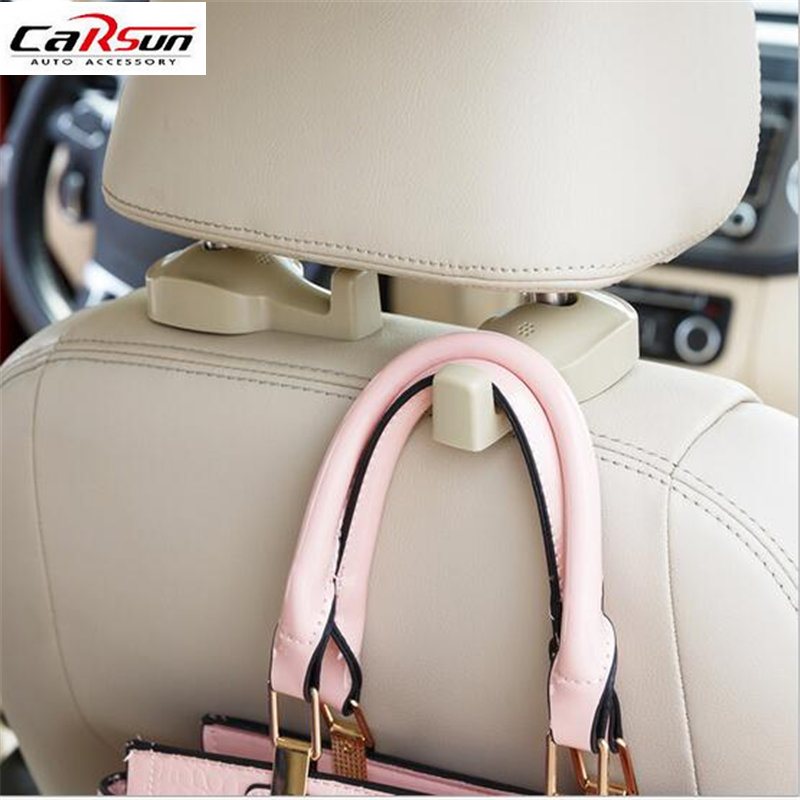2pcs Car Hook Auto Vehicle Seat Headrest Silica Gel Bag Hook Car Interior Accessories Hanger Holder Hanger Gift Suits car headrest pole mounted hook grey pink pair