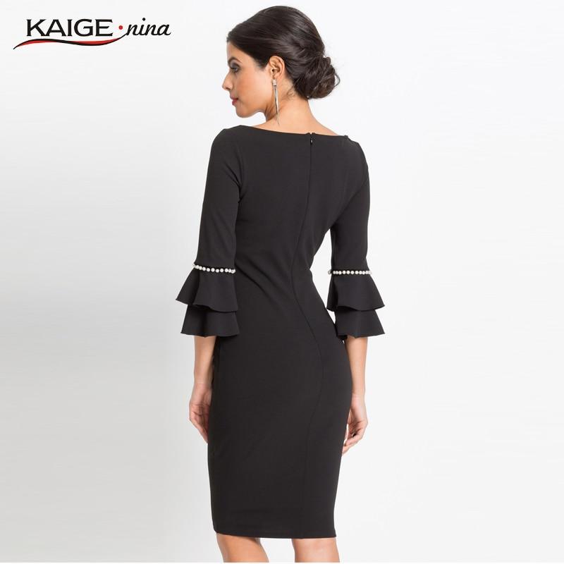 Women Flare Half-sleeved Shirt Mini Dress Fashion Casual Dress Womens Fall Vestidos Beaded Office Lady Black Elegant Dress 1918