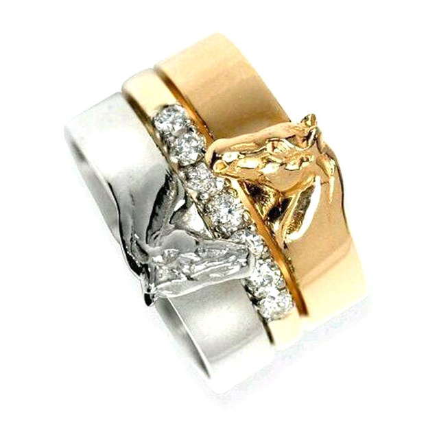 Hzew Horseshoe Ring 3 In One Sweetheart Horse Rings Gift Wedding
