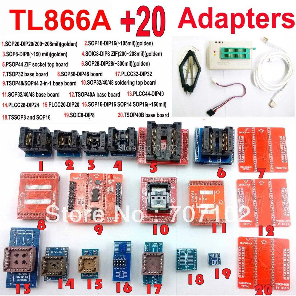 TL866A programmer 20 adapters USB Universal TL866 AVR PIC Bios 51 MCU Flash EPROM Programmer Russian
