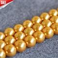 Ожерелье и Браслет 14 мм Золотой Оболочки жемчужные бусы Раковины DIY подарок для женщин свободные шарики изготовление Ювелирных Изделий дизайн 15 7-дюймовый Оптовая