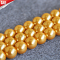 Necklace&Bracelet 14mm Golden Shell pearl beads Seashell DIY gift for women loose beads Jewelry making design 15inch Wholesale