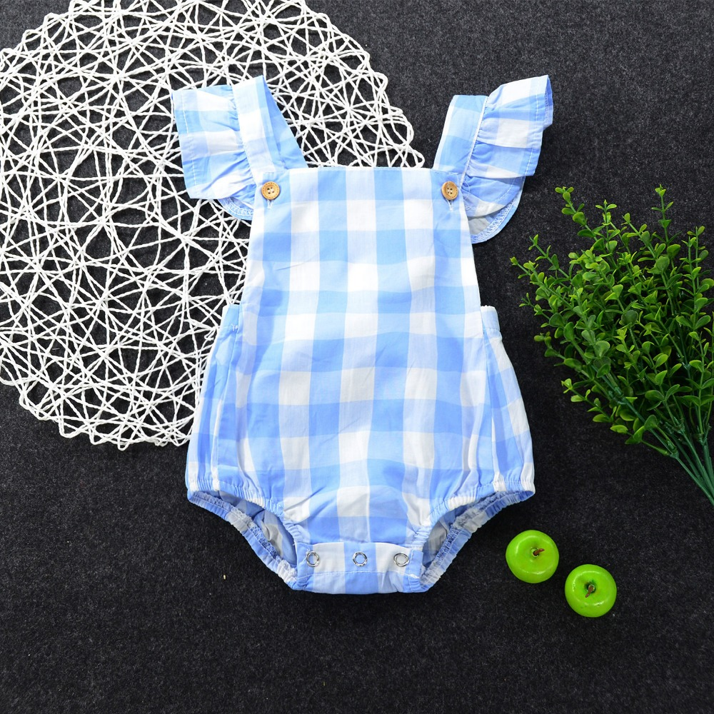 Summer 2017 Infant Newborn Girls Children Butterfly sleeves Plaid Sliders Backless Overalls Clothes Beach Suit Outfits ...