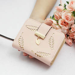Новые женские кошельки короткий бумажник дамы молния Пряжка полый лист женский кошелек Бумажник Женская обувь на застежке-молнии кошелек