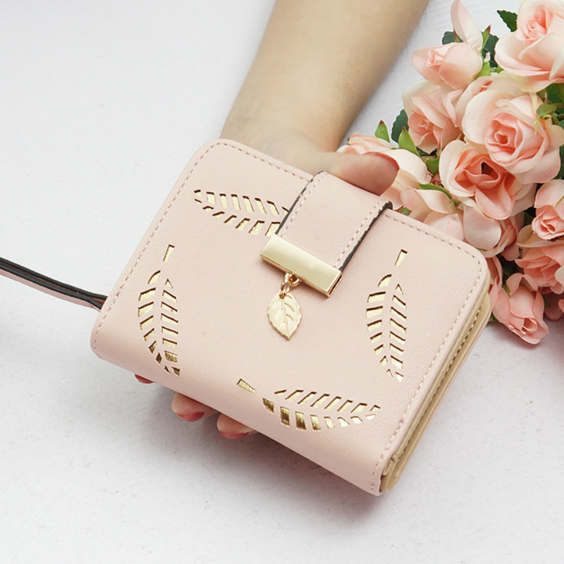 New Women Wallets Short Wallet Ladies Zipper Buckle Hollow Leaf Purse Wallet Female Women Zipper Purse Card Holder Cartera Mujer