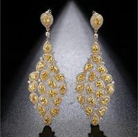 Luxurious AAA cubic zirconia fully jewelled long big drop earrings ,noble women's accessaries,E0322Y