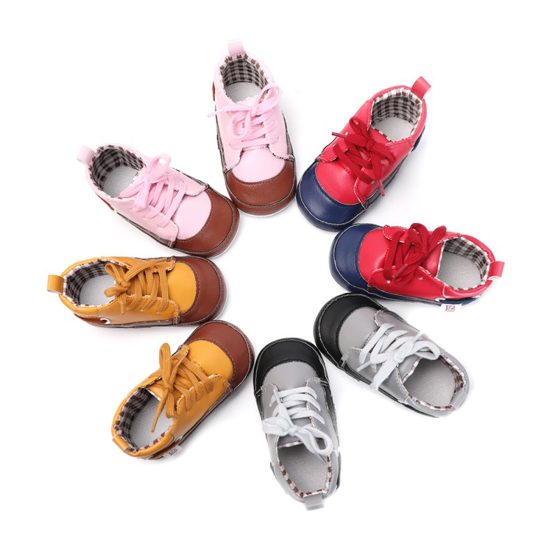 Mocassins Toddler Baby Shoes PU Leather Gold First Walkers Soft Bottom Riband Lace Up Newborn Baby Crib Shoes