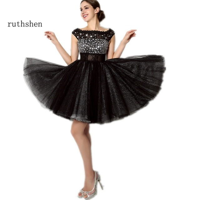 ruthshen 2018 Little Black Vestido Coctel Corto Cap Sleeves Beaded Cocktail  Party Dress Short Formal Homecoming Dress Cheap c5e5956debad