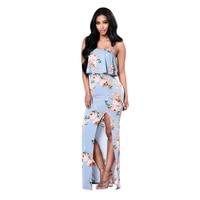 Floral print harness ruffles maxi dresses split beach summer dress sexy sleeveless backless women dress vestidos HD087
