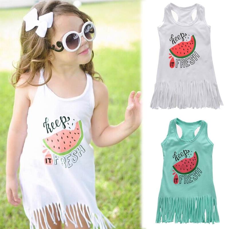 1-6 gadus veca arbūzu kleita, vasaras stila plāna mazuļu kleita, kokvilnas vestes kleita bez piedurknēm, bezmaksas pastmarka.