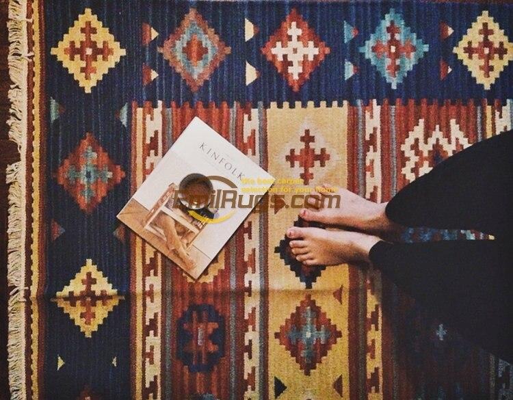 Alfombra Kilim Handmade French Chic Geometric Carpet Bedroom Natural Sheep WoolAlfombra Kilim Handmade French Chic Geometric Carpet Bedroom Natural Sheep Wool