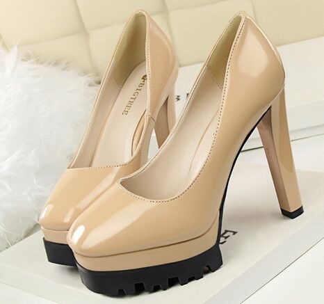 Size 4 8 New Arrival Autumn font b Women b font Shoes Round Toe Nude High
