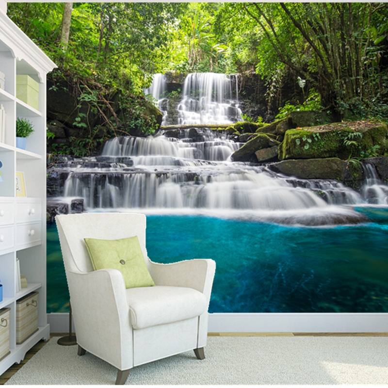 Custom natural landscape wallpaper,Forests and waterfalls,3D photo mural for living room bedroom background wall PVC wallpaper custom mural wallpaper 3d waterfalls red crowned crane goldfish landscape 3d floor tiles painting sticker pvc waterproof fresco
