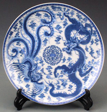 Exquisite Chinese Handmade Blue and White Porcelain Plate Painted With Dragon Phoenix Designs стоимость