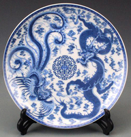 Exquisite Chinese Handmade Blue and White Porcelain Plate Painted With Dragon Phoenix Designs