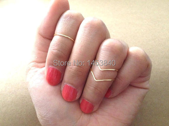 30sets/Lot–Gold/silver/Gun Black Plated Knuckle Rings(10 Mid Rings and 20 Chevron Rings)