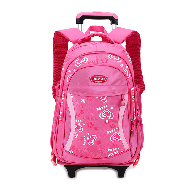 ZIRANYU Double-wheel Trolley Backpack For Children Fashion Heart-shaped Pattern School Bag Detachable Backpack For Girls School Bags