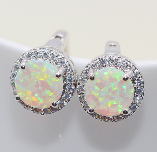 Beautiful Pleasantly Surprised Wholesale Jewelry white/orange/bule Fire Opal Zircon Charm Earrings