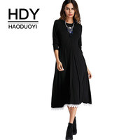 HDY Haoduoyi Black Mid Dresses Long Sleeve Loose Women Elegant Casual Dress With Pocket Lace Patchwork