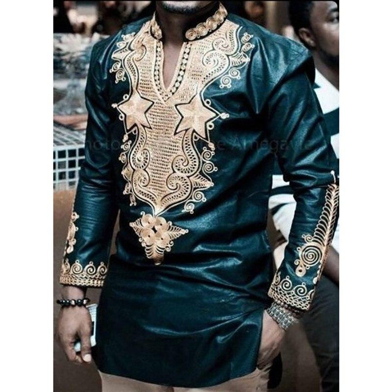 African Print Shirt Mens Dashiki Shirts Riche Tops Dark Green Colour African Mens Clothing Africa Designed Mens Slim fit Shirt