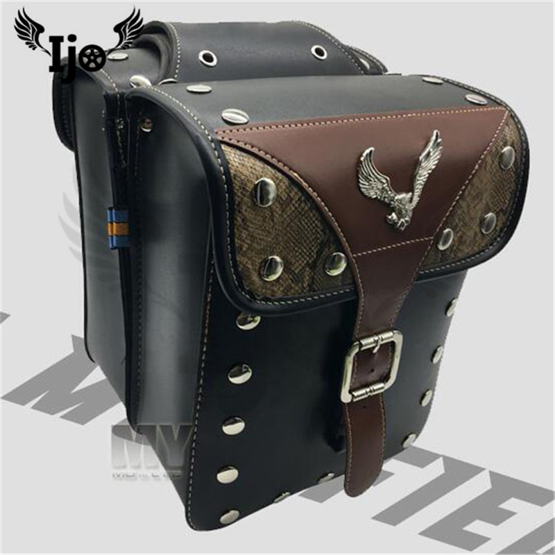 top quality eagle brown black moto tail bag prince cruise scooter tool luggage motorbike side bag retro motorcycle saddle bags